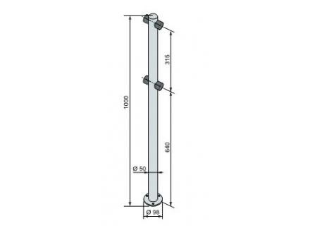 PERCo-BH02 2-01 двухсторонняя стойка с 4-мя отверстиями для крепления патрубков (угол между парами отверстий 180град.)