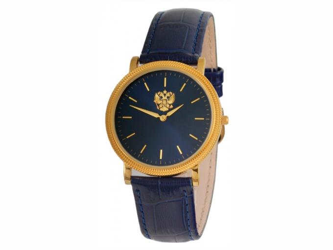 Часы Слава черные с золотистым гербом России